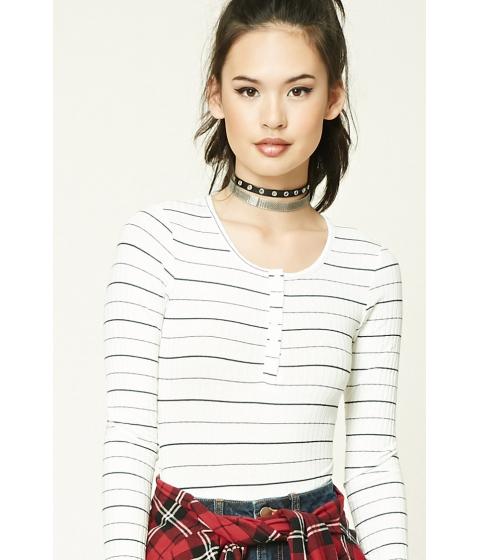 Imbracaminte Femei Forever21 Striped Henley Bodysuit Ivoryblack