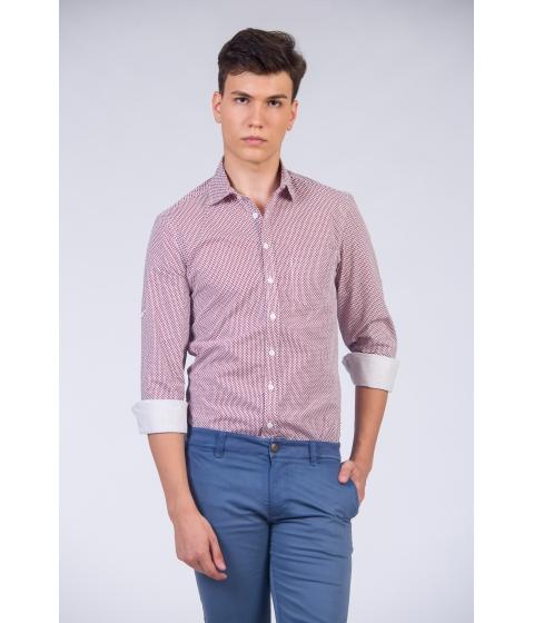 Imbracaminte Barbati Be You Camasa alba pentru barbati cu maneca lunga si print bordo Multicolor