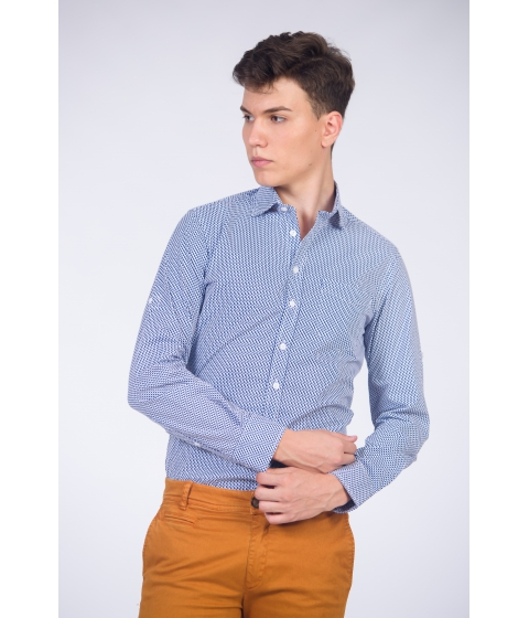Imbracaminte Barbati Be You Camasa alba pentru barbati cu maneca lunga si print albastru Multicolor