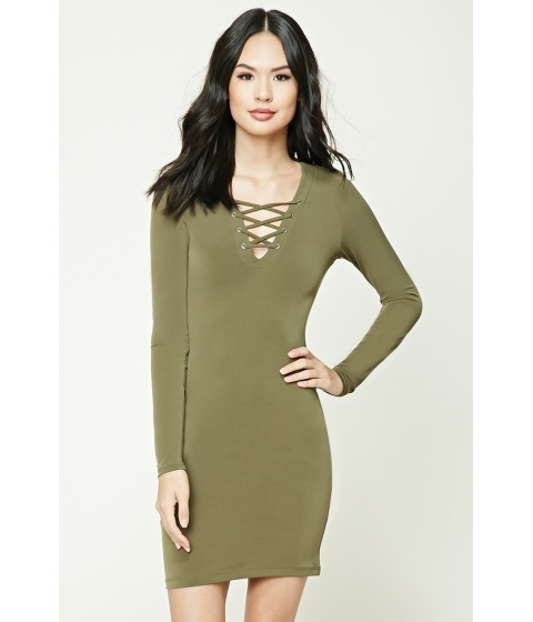 Imbracaminte Femei Forever21 Lace-Up Bodycon Dress Olive