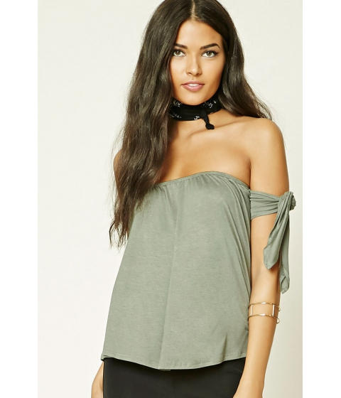Imbracaminte Femei Forever21 Self-Tie Off-the-Shoulder Top Light olive