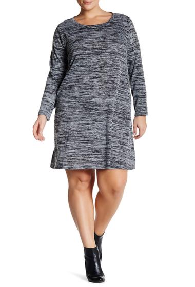 Imbracaminte Femei Bobeau Long Sleeve Crew Neck Swing Dress Plus Size K0B42 CHARCOAL-BLACK