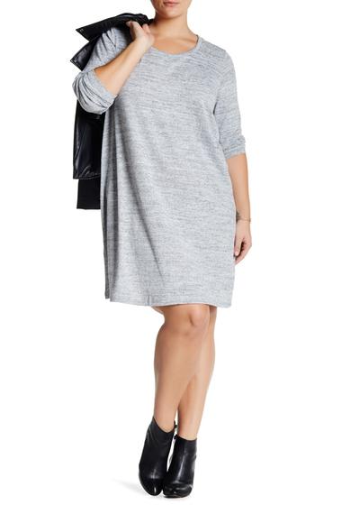 Imbracaminte Femei Bobeau Long Sleeve Crew Neck Swing Dress Plus Size K0B42 WHITE-BLACK