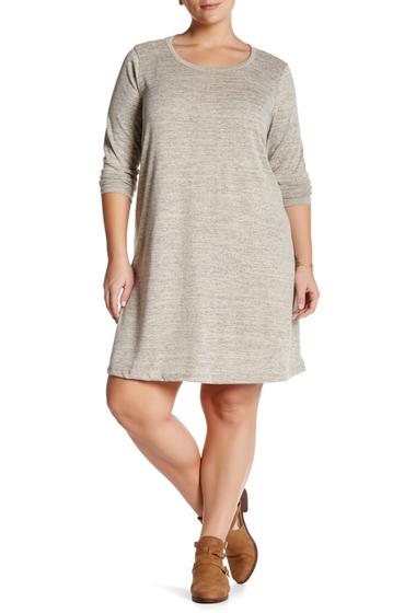 Imbracaminte Femei Bobeau Long Sleeve Crew Neck Swing Dress Plus Size K0B42 MOCHA-BLACK