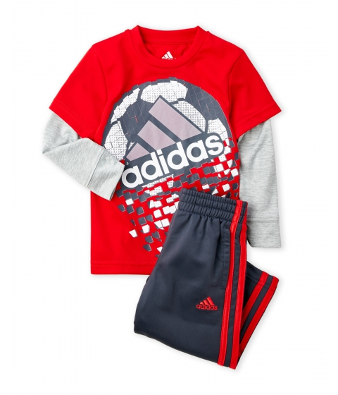 Imbracaminte Baieti adidas (Toddler Boys) Two-Piece Game Shattering Tee Pants Set Bright Red