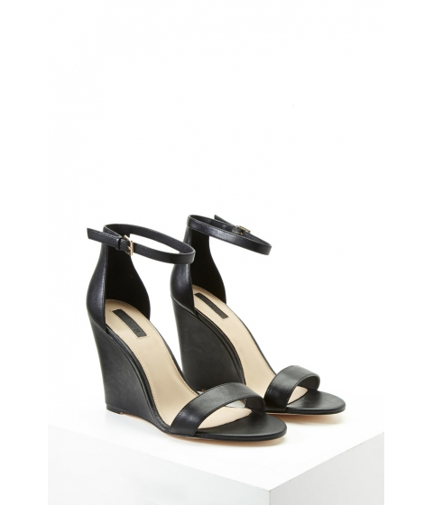 Incaltaminte Femei Forever21 Faux Leather Ankle-Strap Wedges Black