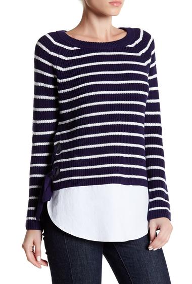 Imbracaminte Femei Cable Gauge Stripe Lace-Up Sweater NAVYBLUE