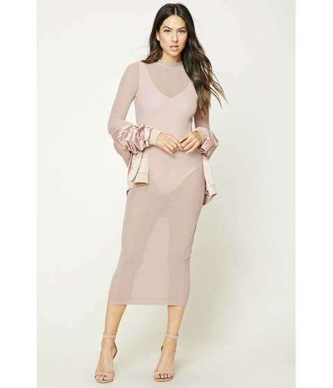 Imbracaminte Femei Forever21 Sheer Mock Neck Bodycon Dress Blush
