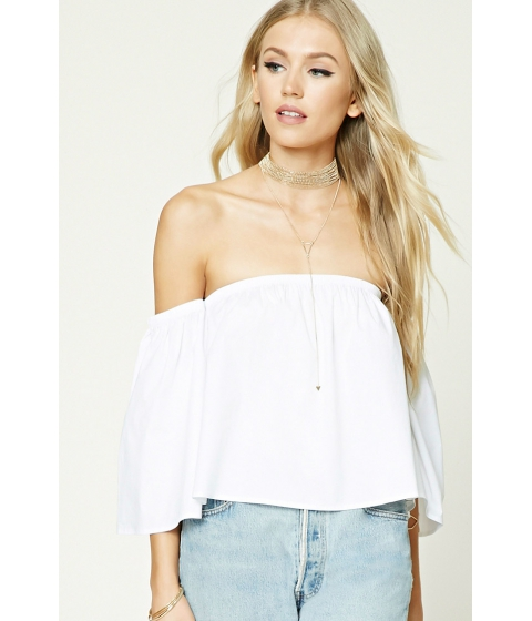 Imbracaminte Femei Forever21 Off-the-Shoulder Crop Top White