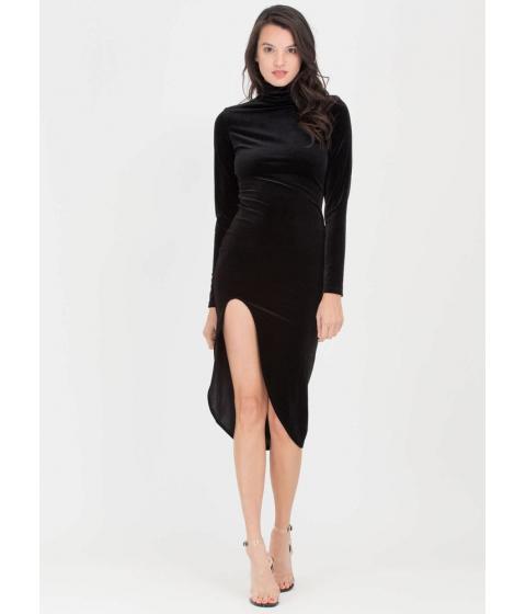 Imbracaminte Femei CheapChic Dreamy Velvet Turtleneck High-low Dress Black