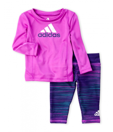 Imbracaminte Fete adidas (NewbornInfant Girls) Two-Piece Performance Logo Top Printed Leggings Set Shock Purple