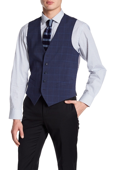 Imbracaminte Barbati Original Penguin Five Button Vest BLUE WINDOWPANE