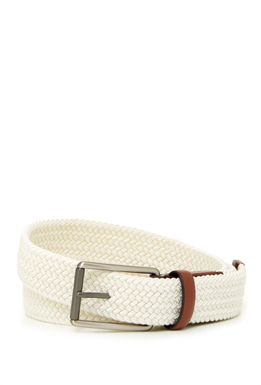 Accesorii Barbati Original Penguin Woven Elastic Leather Belt WHITE