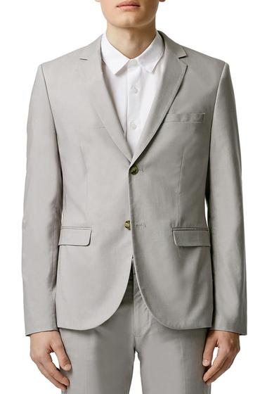Imbracaminte Barbati TOPMAN Light Grey Chambray Skinny Fit Suit Jacket LIGHT GREY
