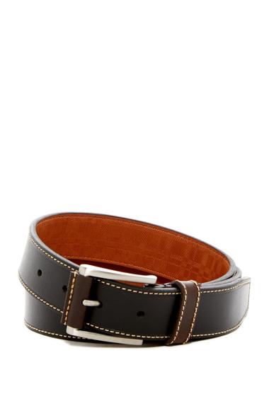Accesorii Barbati Boconi Topstitched Leather Belt BLACK