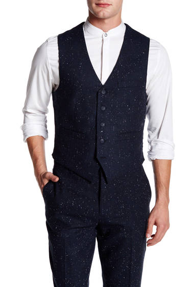 Imbracaminte Barbati EDGE by WDNY Donegal Tweed V-Neck Vest NAVY DONEGAL TWEED