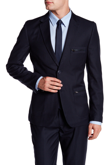 Imbracaminte Barbati EDGE by WDNY Pinstripe Two Button Blazer NAVY