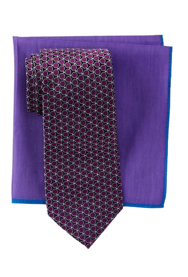 Accesorii Barbati Ted Baker London Remy Neat Silk Tie Pocket Square Set DEEP PURPLE
