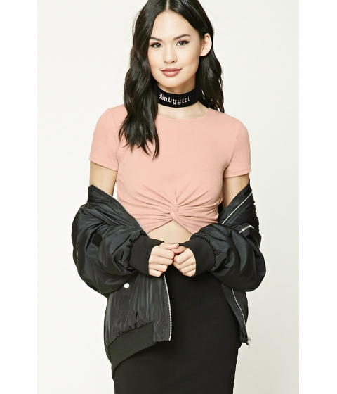 Imbracaminte Femei Forever21 Twist-Front Crop Top Dusty pink