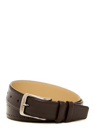 Accesorii Barbati Mezlan Broguing Trim Calf Leather Belt BROWN