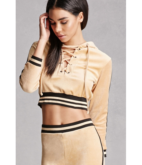 Imbracaminte Femei Forever21 Velvet Lace-Up Crop Top Camel