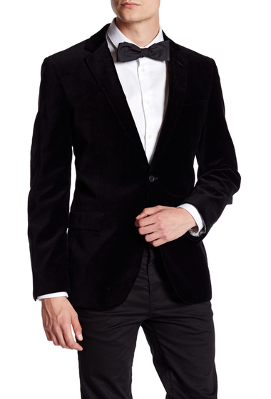 Imbracaminte Barbati 14th Union Black Velvet Two Button Notch Lapel Jacket BLACK