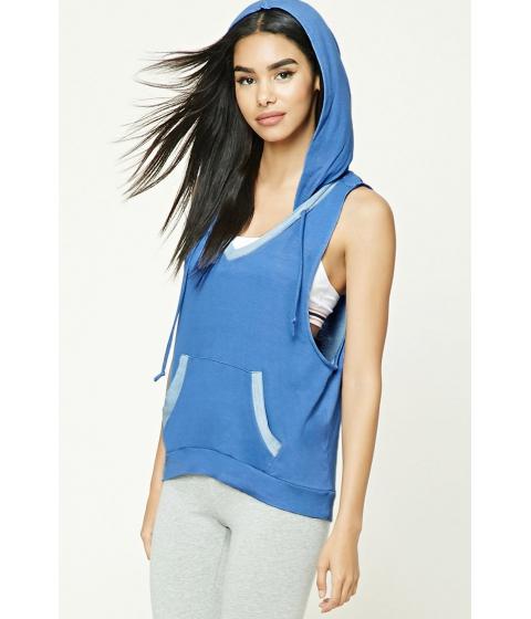 Imbracaminte Femei Forever21 Hooded V-Neck Top Blue
