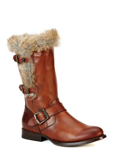 Incaltaminte Femei Frye Jamie Luxe Genuine Rabbit Fur Moto Boot REDWOOD