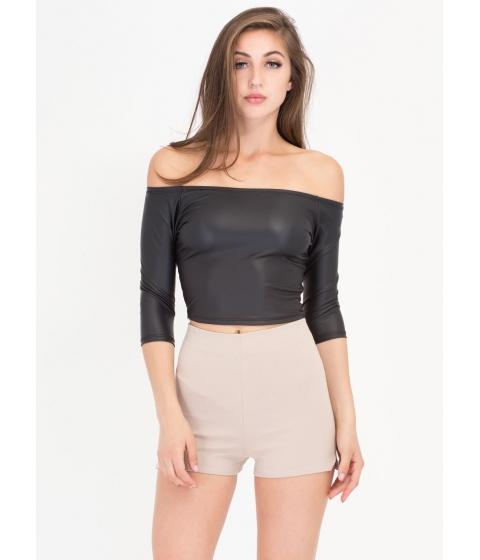 Imbracaminte Femei CheapChic Smooth Operator Faux Leather Crop Top Black