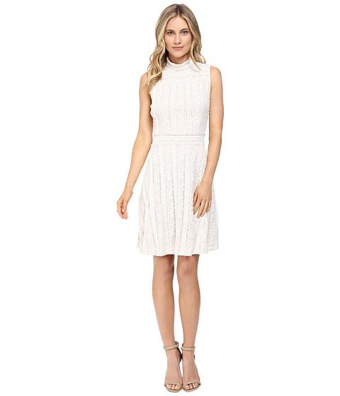 Imbracaminte Femei Vince Camuto Sleeveless Mock Neck Ruffle Lace Flare Dress Antique White