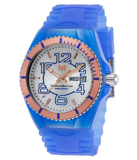 Ceasuri Barbati Technomarine Cruise JellyFish Blue Silicone Silver-Tone Dial Rose-Tone Bezel - TECHNO-TM-115146 Silver-ToneBlue