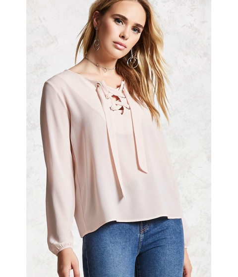 Imbracaminte Femei Forever21 Lace-Up Crepe Top Blush