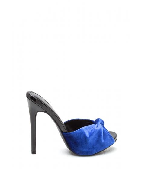 Incaltaminte Femei CheapChic Knot Over It Velvet Stiletto Heels Blue