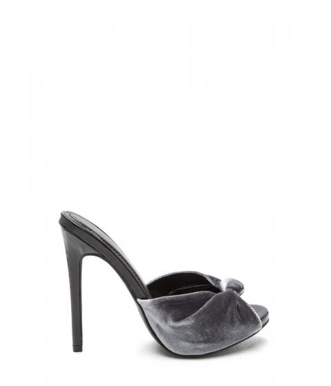 Incaltaminte Femei CheapChic Knot Over It Velvet Stiletto Heels Grey