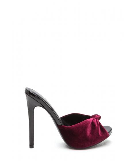Incaltaminte Femei CheapChic Knot Over It Velvet Stiletto Heels Wine