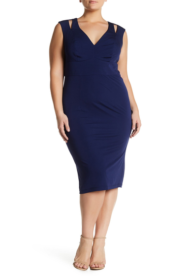 Imbracaminte Femei ABS Collection Cutout Shoulder Midi Dress Plus Size NAVY