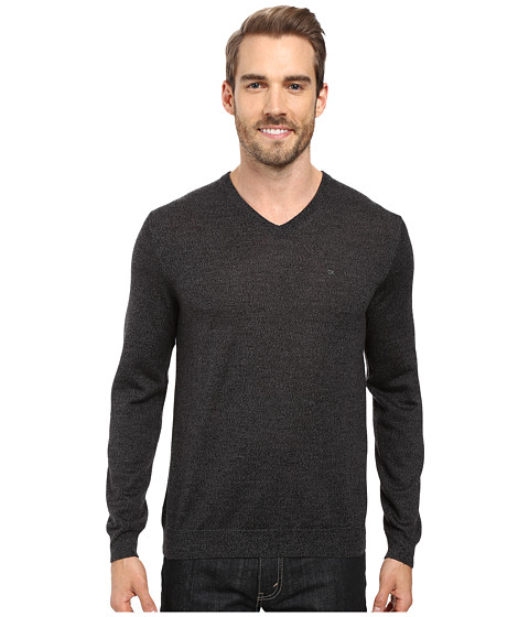 Imbracaminte Barbati Calvin Klein Solid Merino V-Neck Sweater Black Jack Heather