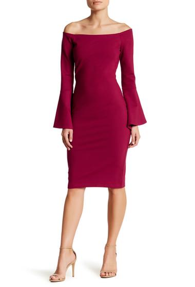 Imbracaminte Femei Just Me Off-the-Shoulder Bell Sleeve Dress BURGUNDY