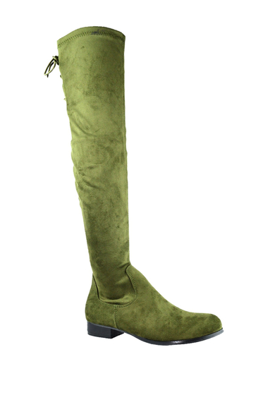 Incaltaminte Femei Chase Chloe Maggy Knee Stacked Heel Boot OLIVE SUEDE