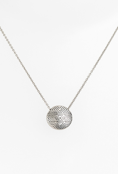 Bijuterii House of Harlow 1960 Tholos Engraved Pendant Necklace SILVER