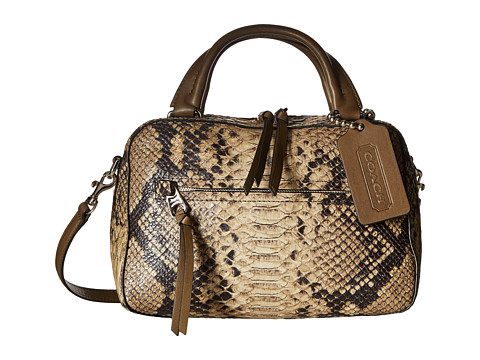Genti Femei COACH Bleecker Python Small Toaster Satchel Natural
