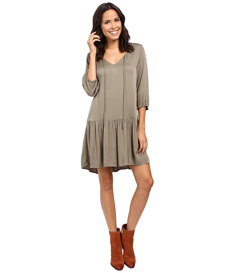Imbracaminte Femei Michael Stars Romy Rayon 34 Sleeve Drop Waist Dress Olive Moss