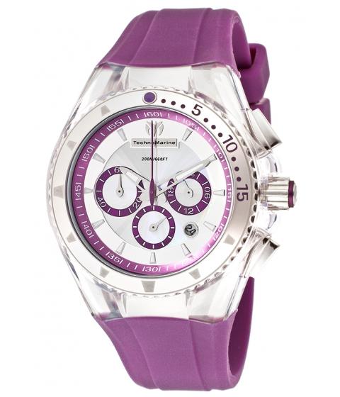 Ceasuri Femei Technomarine Cruise Lipstick Chrono Purple Silicone Iridescent Dial - TECHNO-TM-111032 Silver-TonePurple