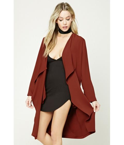 Imbracaminte Femei Forever21 Longline Drape-Front Jacket Rust