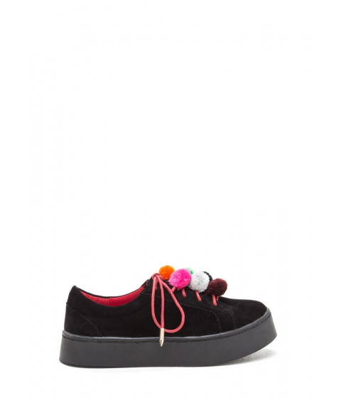 Incaltaminte Femei CheapChic Pom-pom Parade Lace-up Sneakers Black