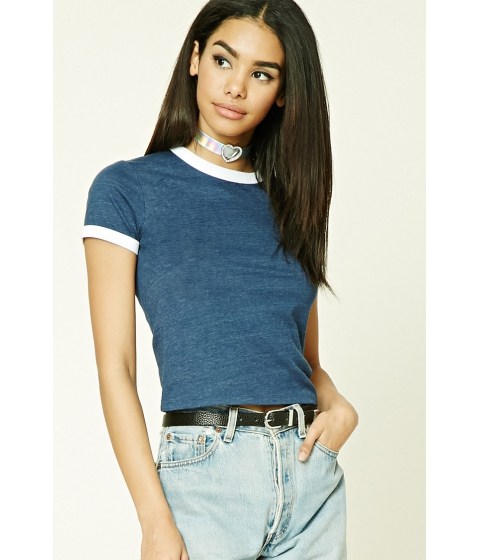 Imbracaminte Femei Forever21 Cotton-Blend Ringer Tee Navywhite