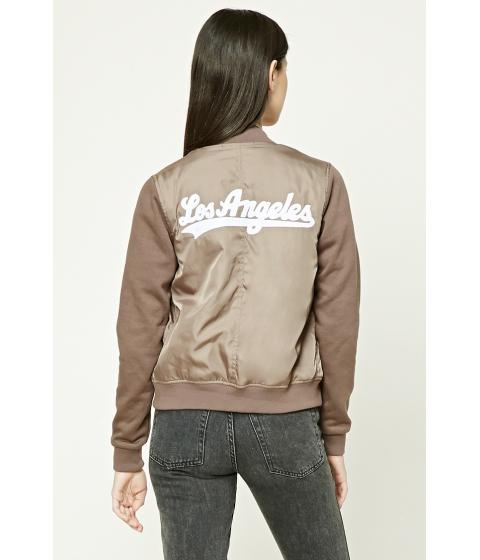 Imbracaminte Femei Forever21 Los Angeles Bomber Jacket Taupewhite