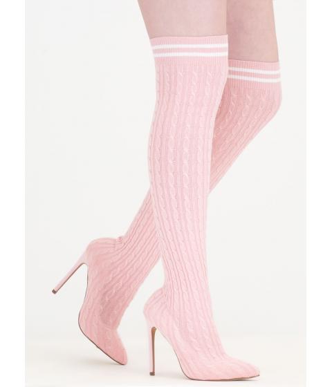 Incaltaminte Femei CheapChic Knits A Hit Thigh-high Sock Boots Pink