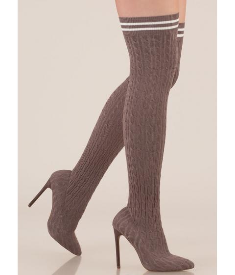 Incaltaminte Femei CheapChic Knits A Hit Thigh-high Sock Boots Grey