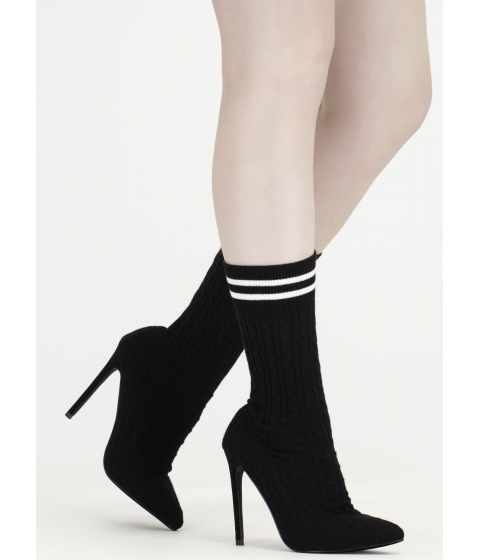 Incaltaminte Femei CheapChic Knits A Hit Pointy Sock Booties Black